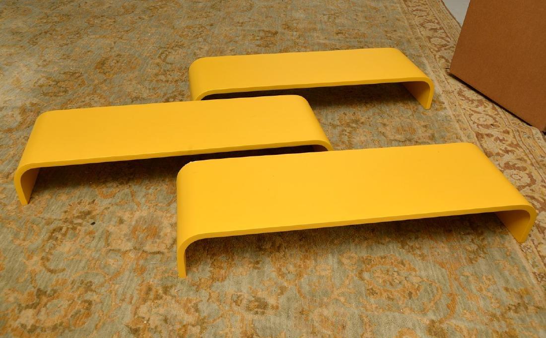 Set (3) curved yellow laminate shelves