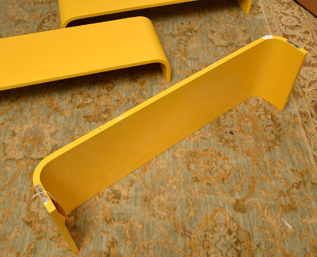 Set (3) curved yellow laminate shelves - 4