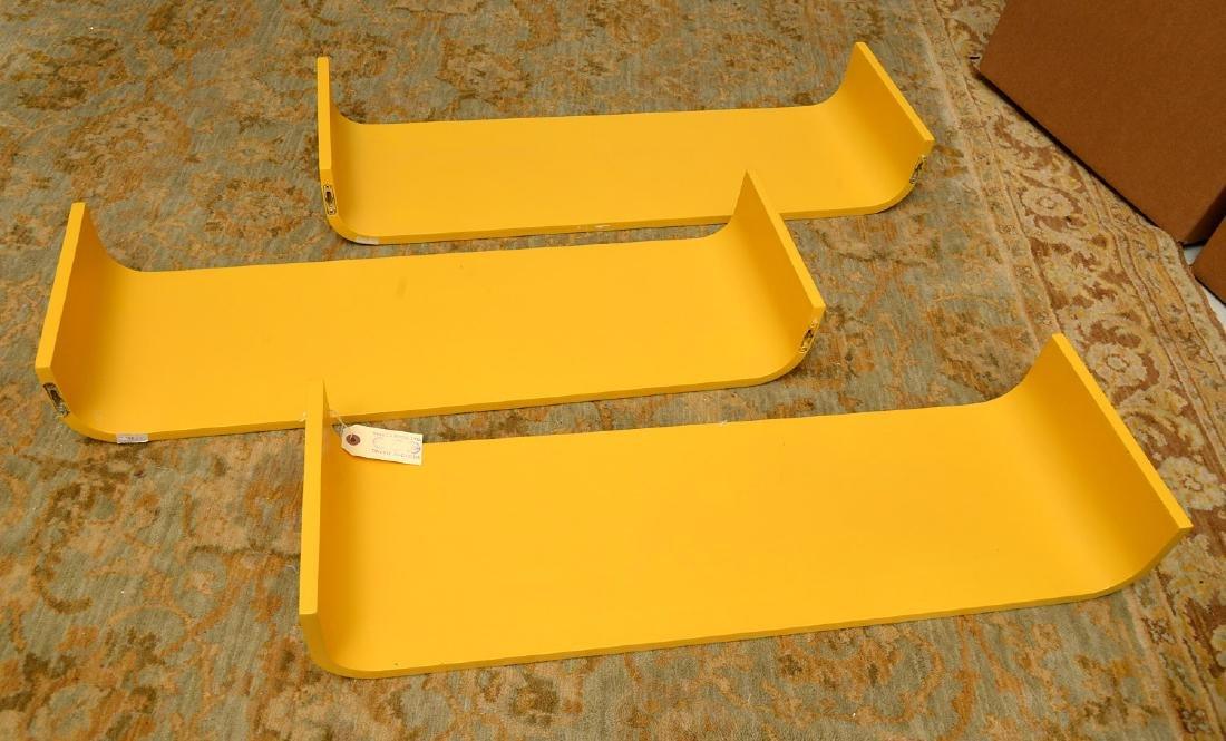 Set (3) curved yellow laminate shelves - 7