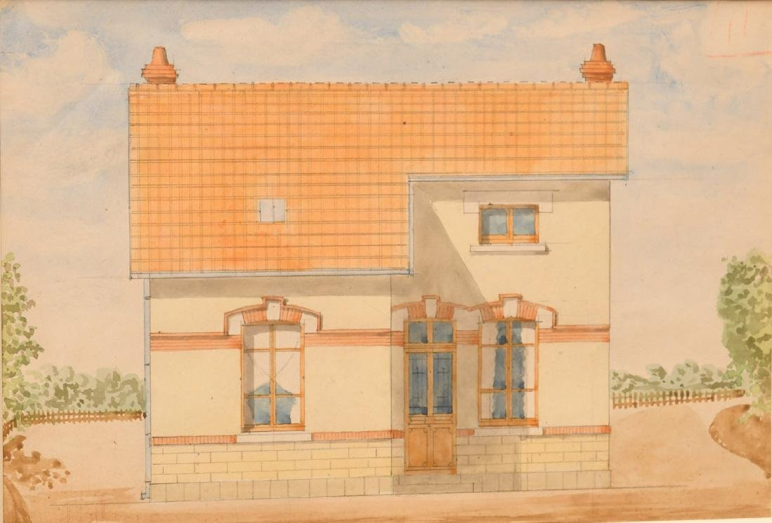 French School, (2) architectural watercolors - 2