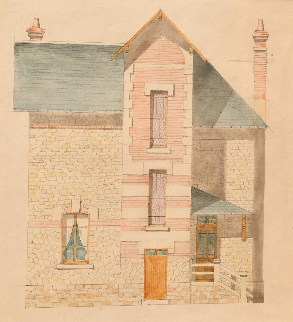 French School, (2) architectural watercolors - 3