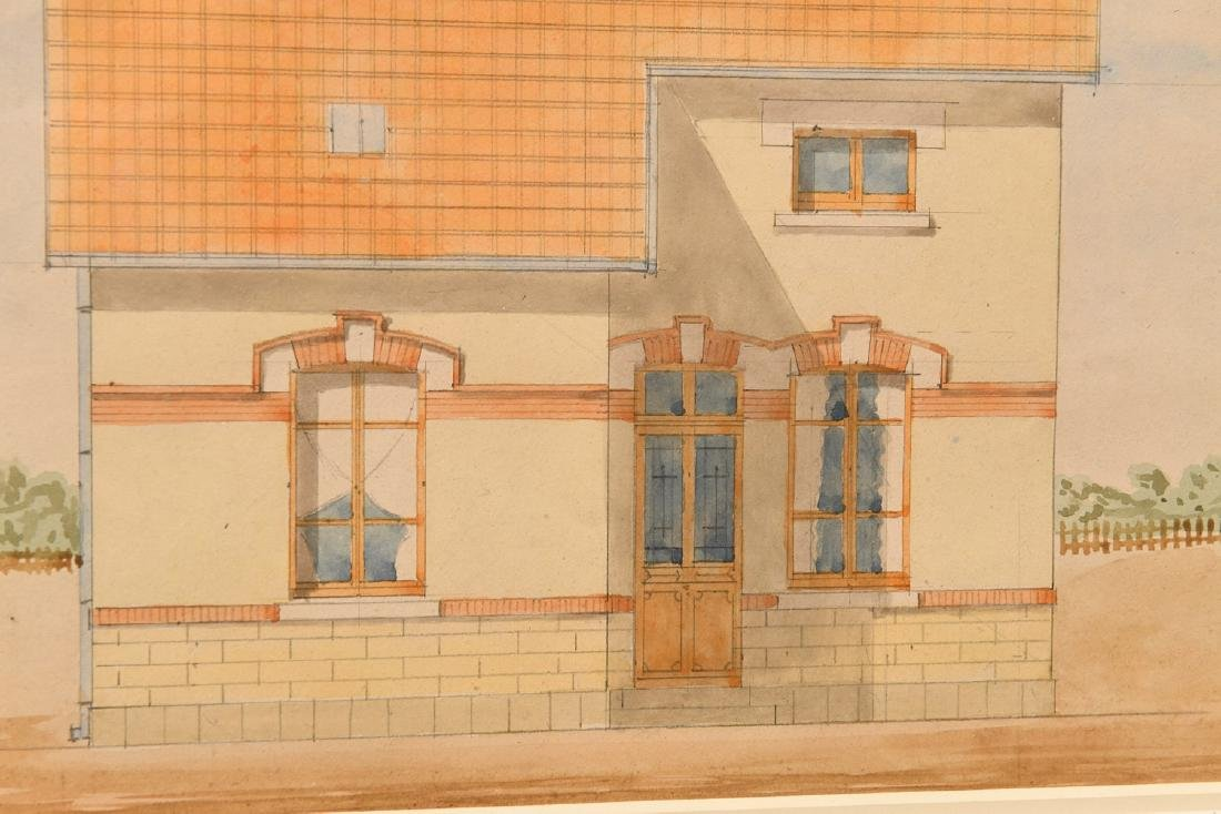 French School, (2) architectural watercolors - 4