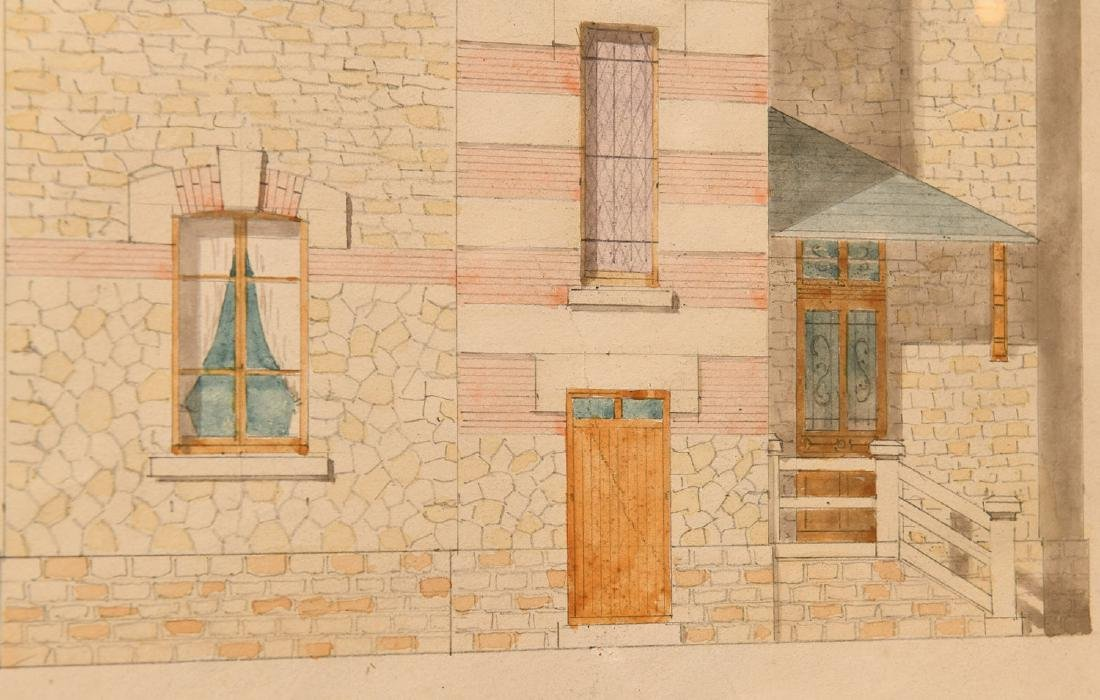French School, (2) architectural watercolors - 5