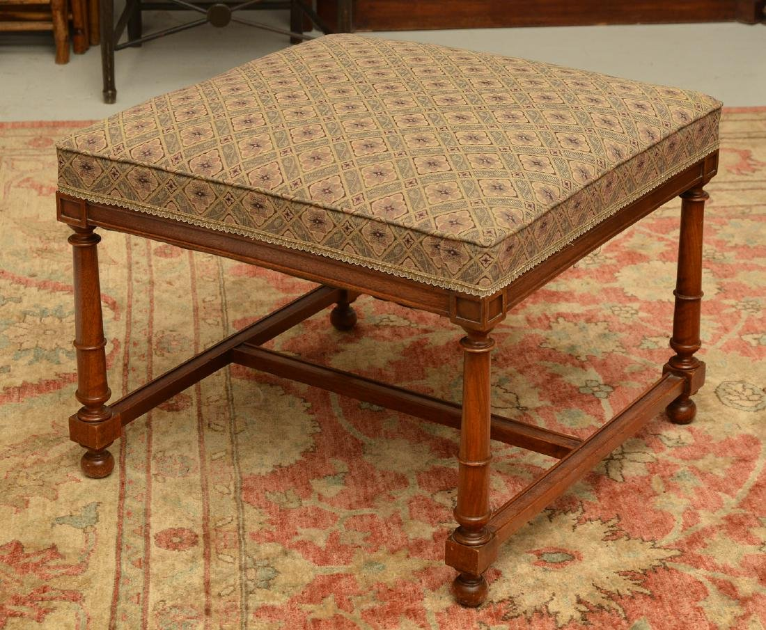 Upholstered square mahogany bench