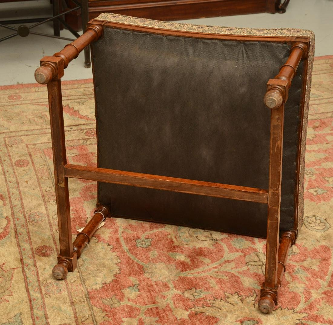 Upholstered square mahogany bench - 6