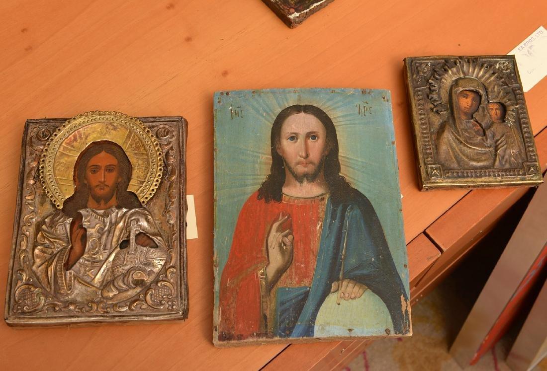(3) Russian/Greek polychrome icons