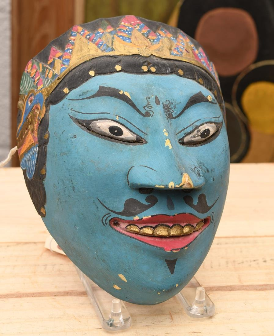 Indonesian painted and carved wood mask