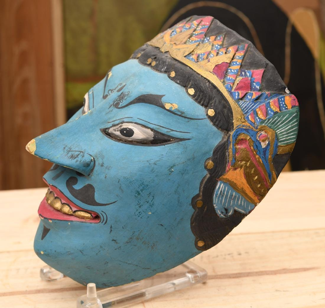 Indonesian painted and carved wood mask - 2