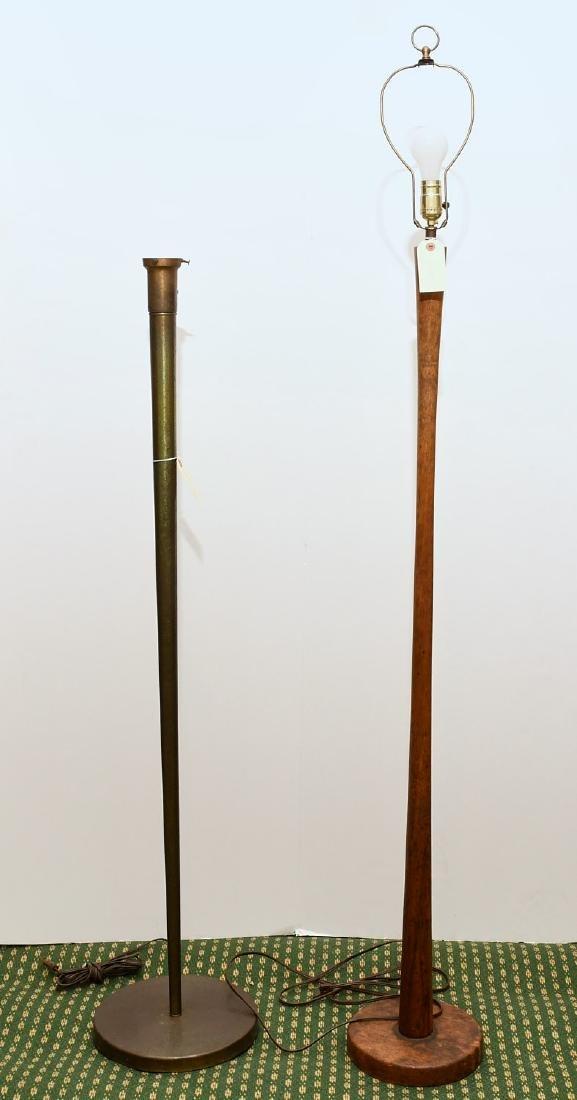 (2) Mid-century teak and metal floor lamps