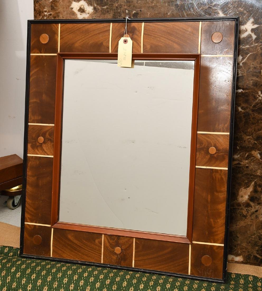 Art Deco style burled mahogany wall mirror