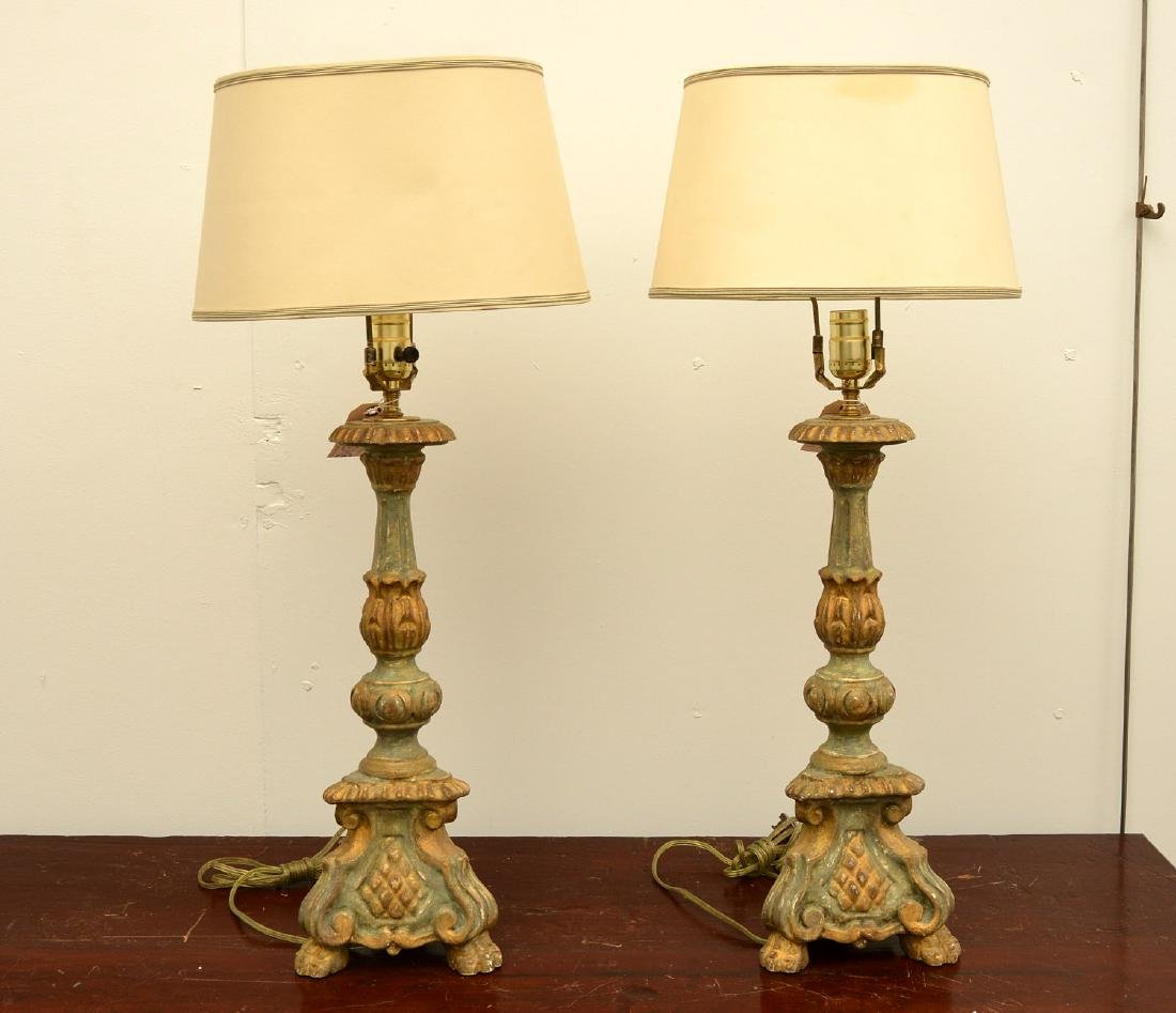 Pair Italian baroque style candle pricket lamps