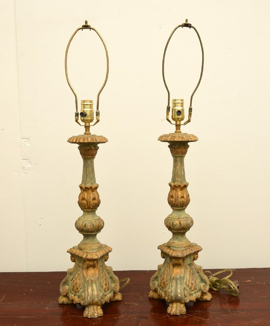 Pair Italian baroque style candle pricket lamps - 2