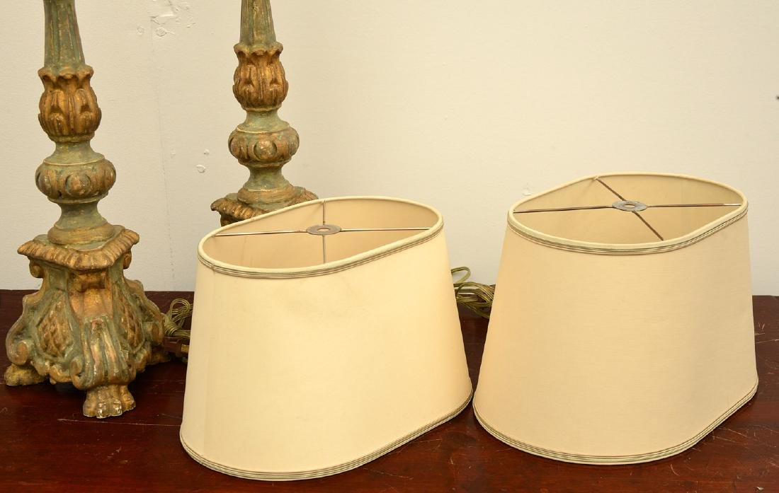 Pair Italian baroque style candle pricket lamps - 6