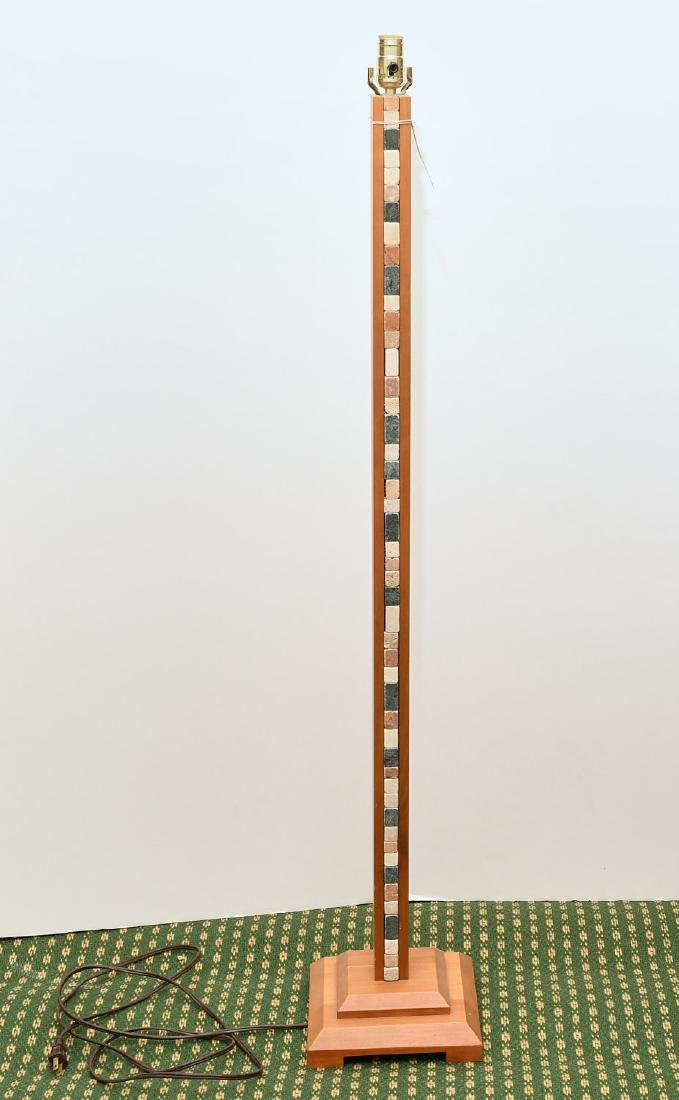 Maple and stacked stone floor lamp
