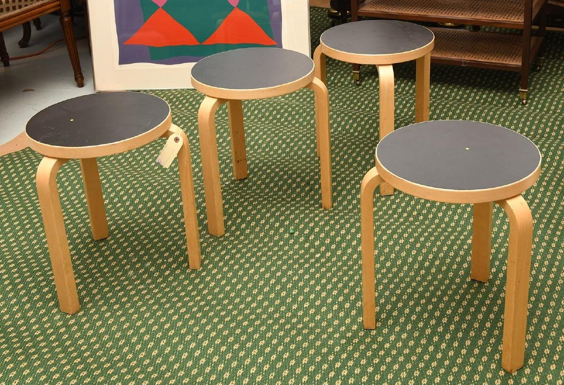 Set (4) Alvar Aalto style bentwood stacking stools