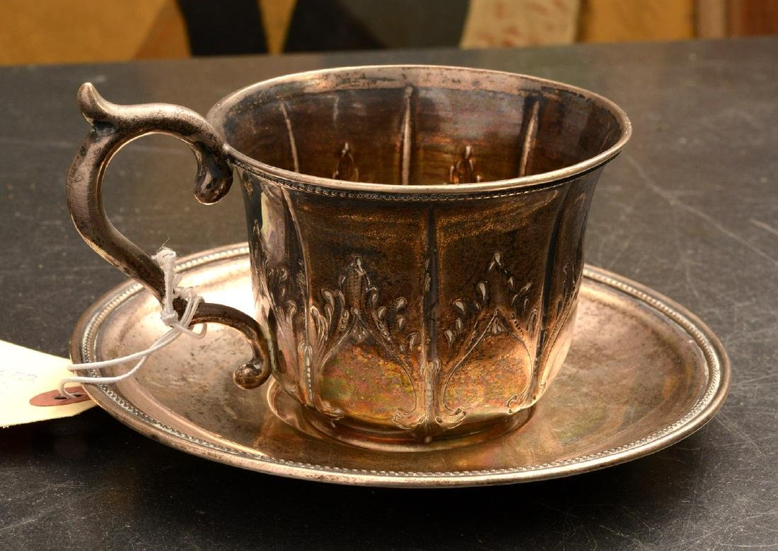 Coin Silver cup and saucer, Kuchler & Himmel
