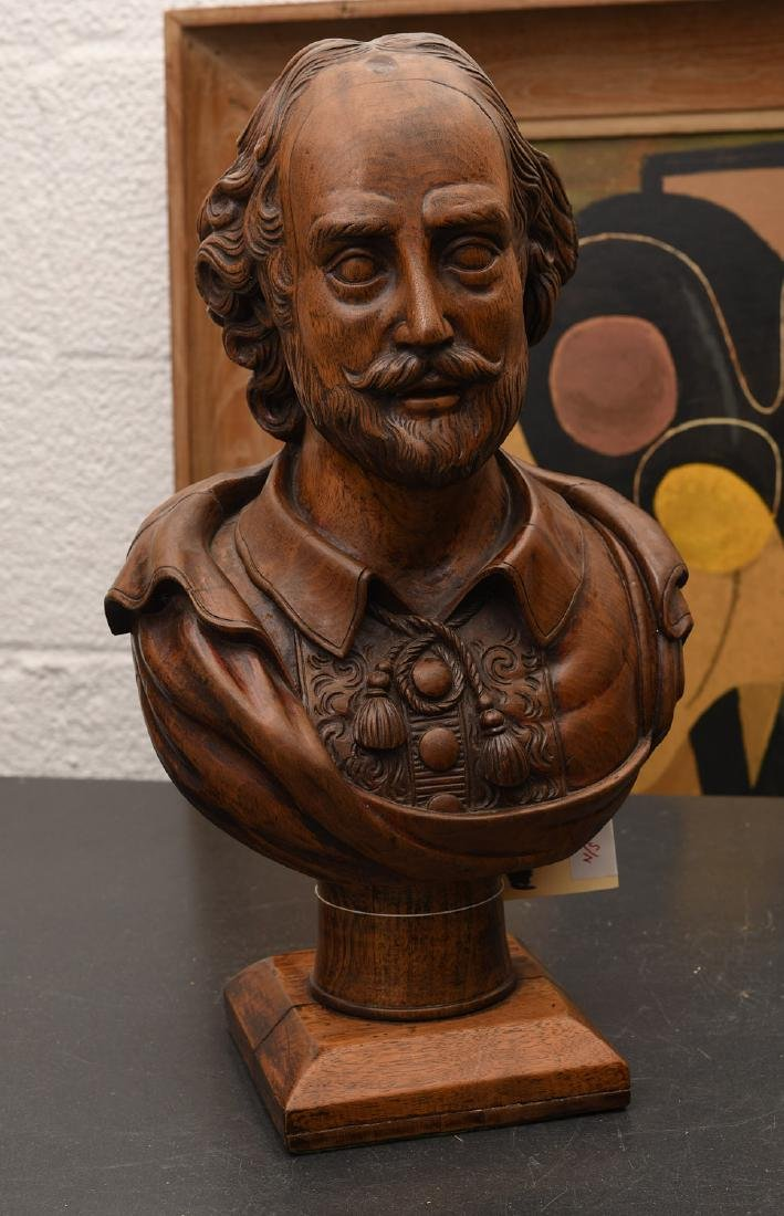 Carved walnut bust of William Shakespeare