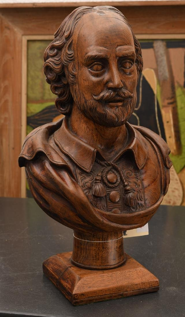 Carved walnut bust of William Shakespeare - 3