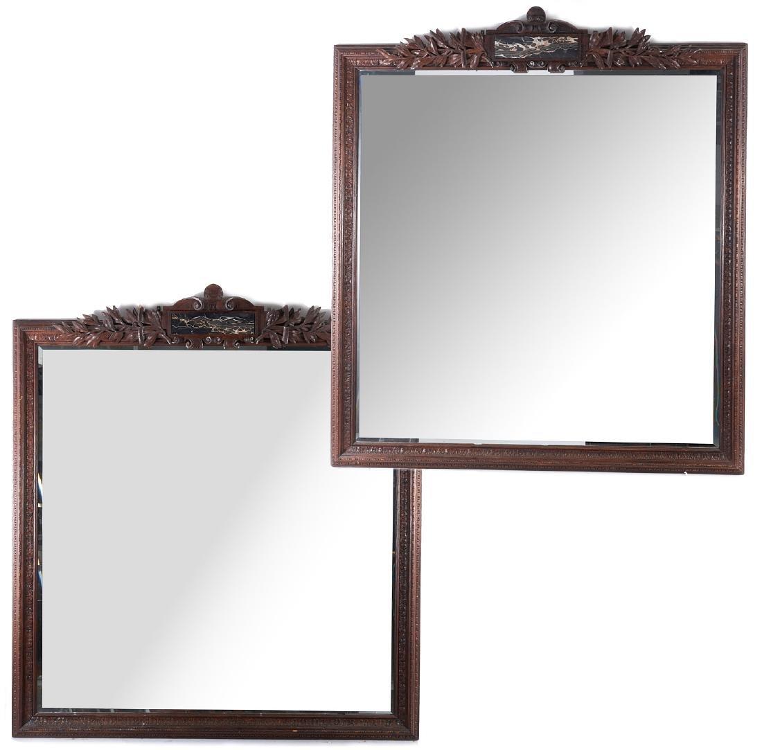 Monumental pair Victorian oak pier mirrors