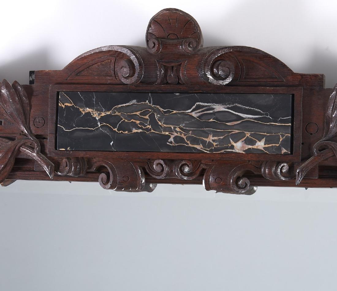 Monumental pair Victorian oak pier mirrors - 2