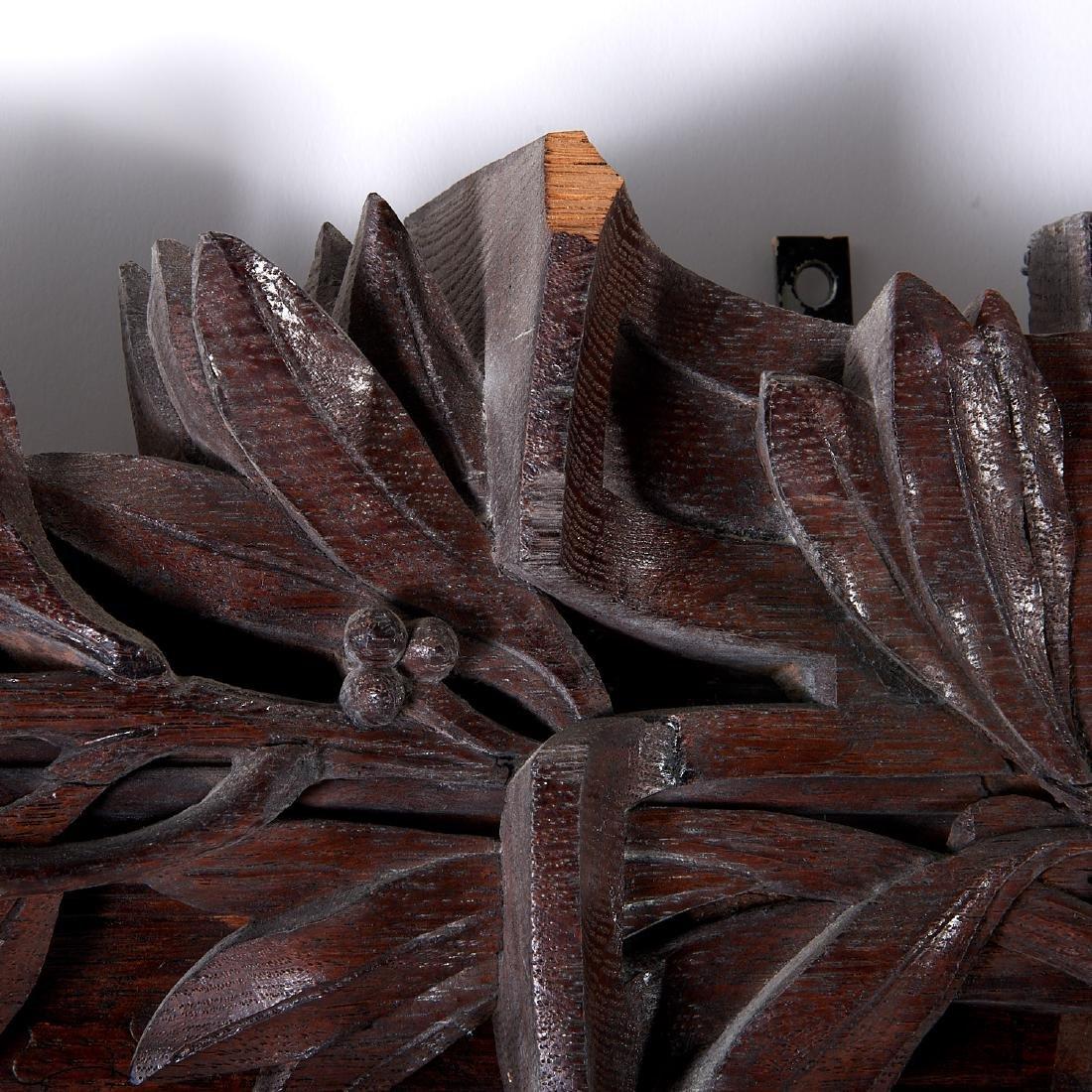 Monumental pair Victorian oak pier mirrors - 5