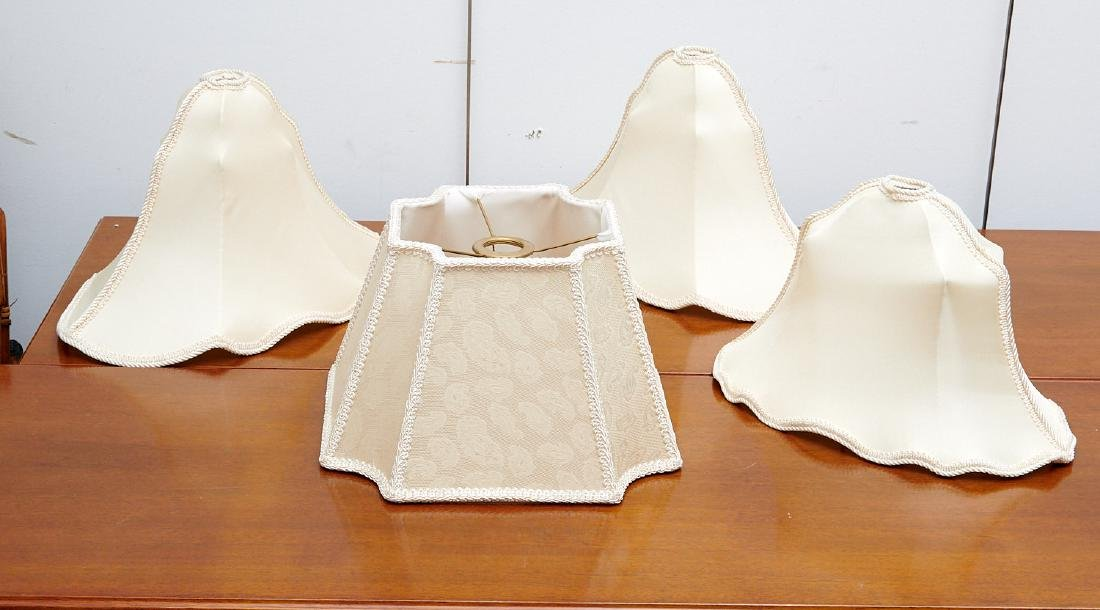 Group (4) vintage silk lamp shades