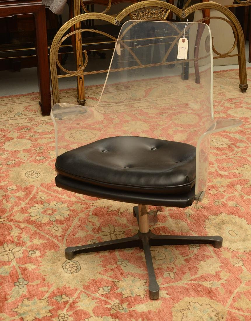 Laverne style acrylic and vinyl swivel chair