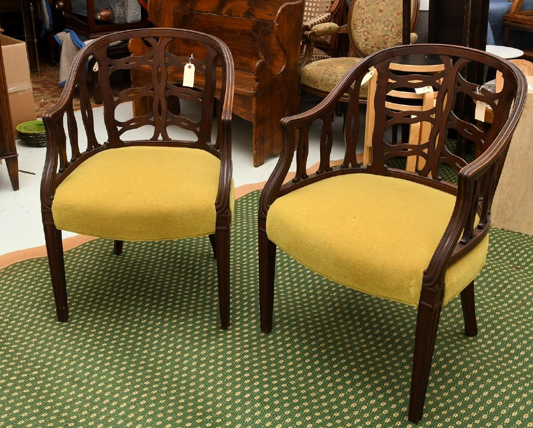 Pair mahogany pierced barrel chairs