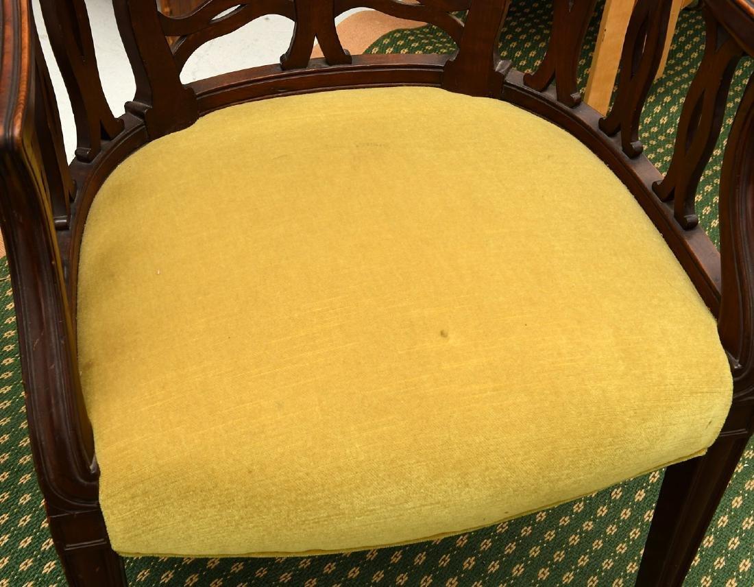 Pair mahogany pierced barrel chairs - 2