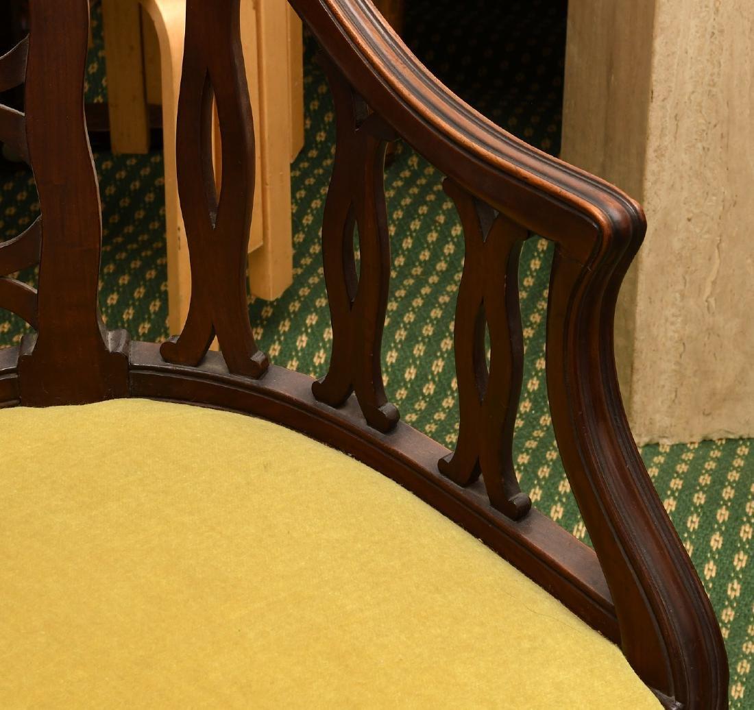 Pair mahogany pierced barrel chairs - 3
