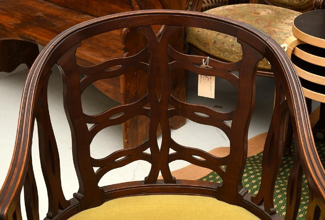 Pair mahogany pierced barrel chairs - 4