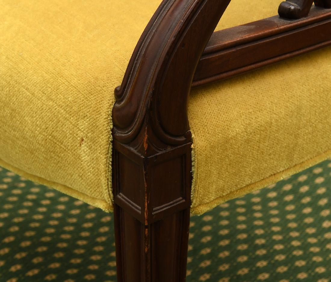 Pair mahogany pierced barrel chairs - 6