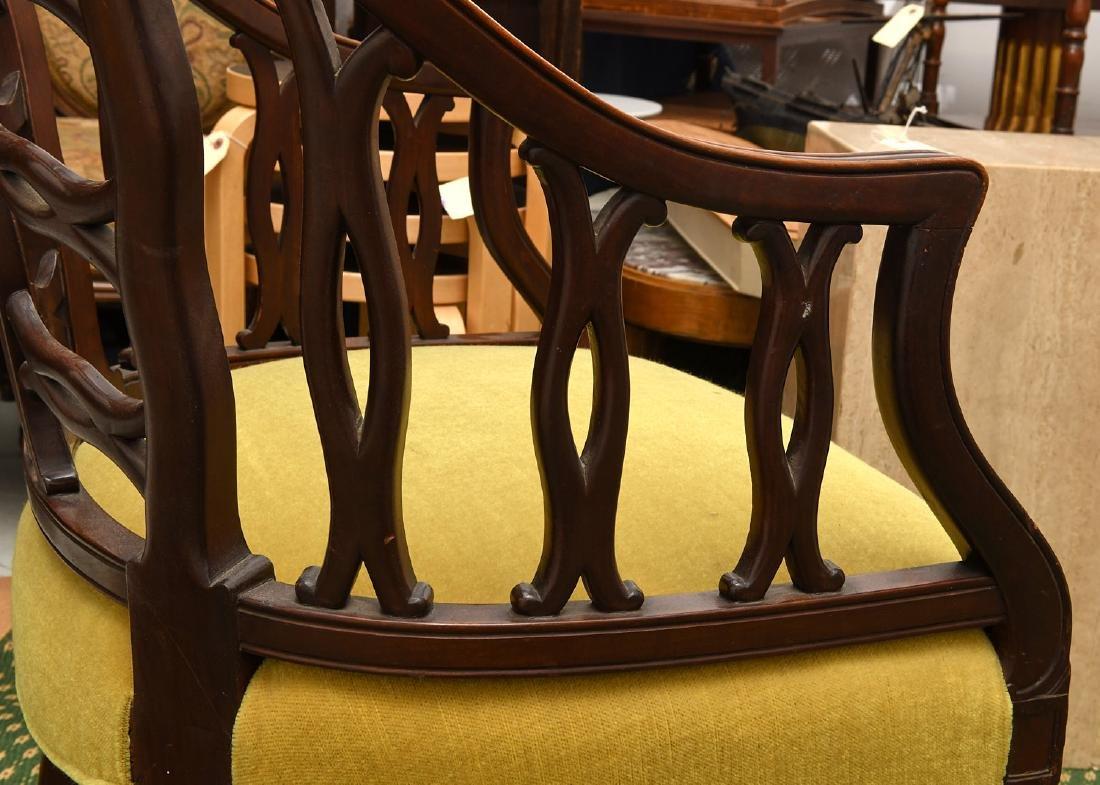 Pair mahogany pierced barrel chairs - 7