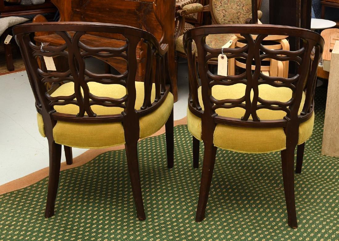 Pair mahogany pierced barrel chairs - 8