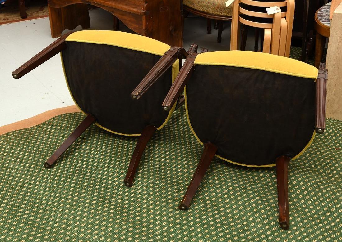Pair mahogany pierced barrel chairs - 9