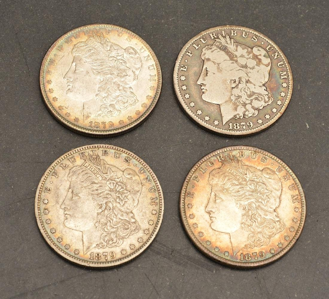 (4) 1879 Morgan silver dollars