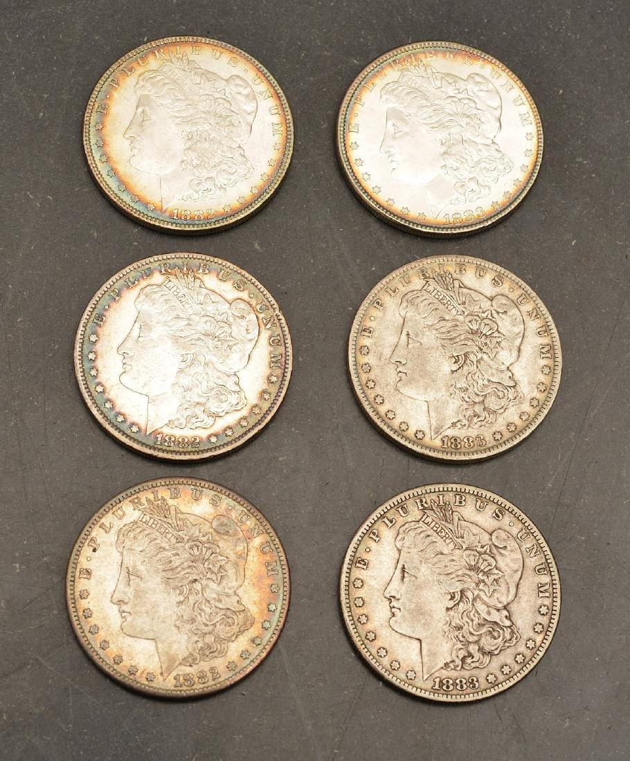 (6) 1882 & 1883 Morgan silver dollars