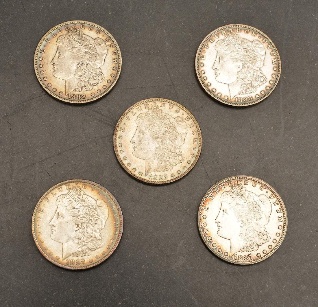 (5) 1887 & 1888 Morgan silver dollars