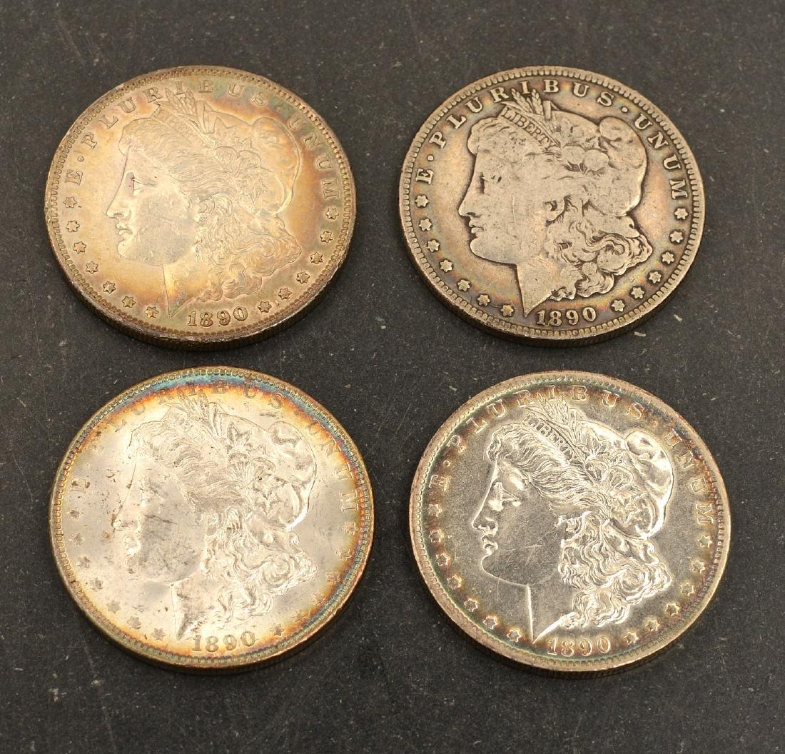 (4) 1890 Morgan silver dollars