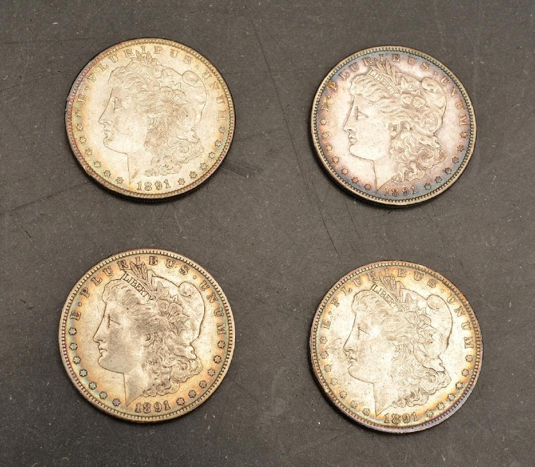 (4) 1891 Morgan silver dollars