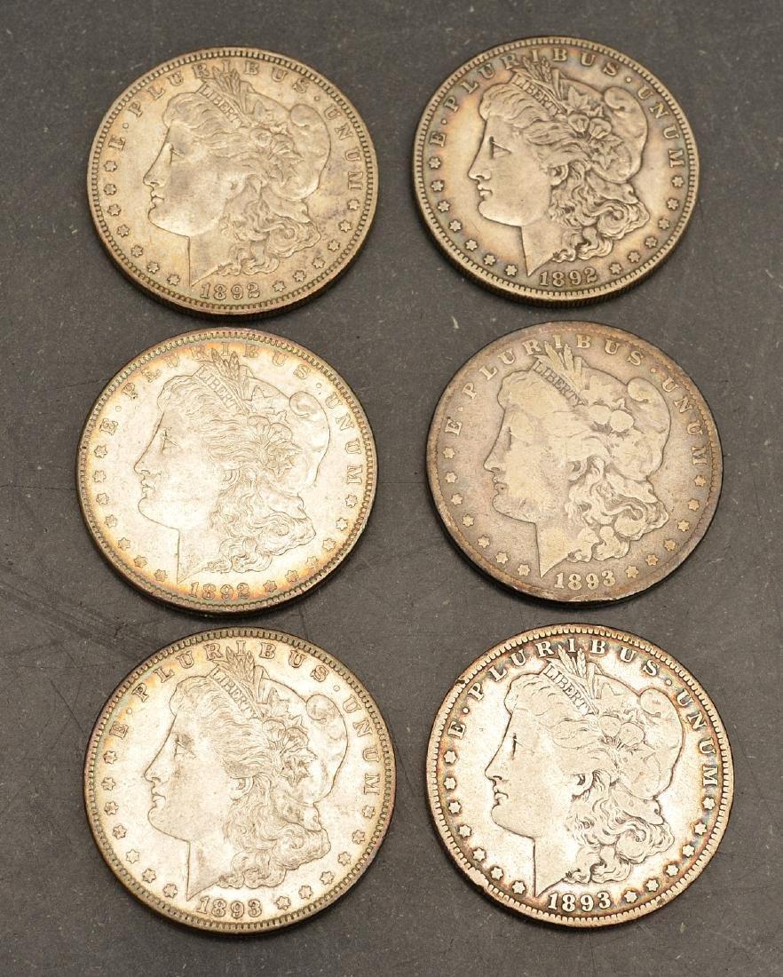 (6) 1892 & 1893 Morgan silver dollars