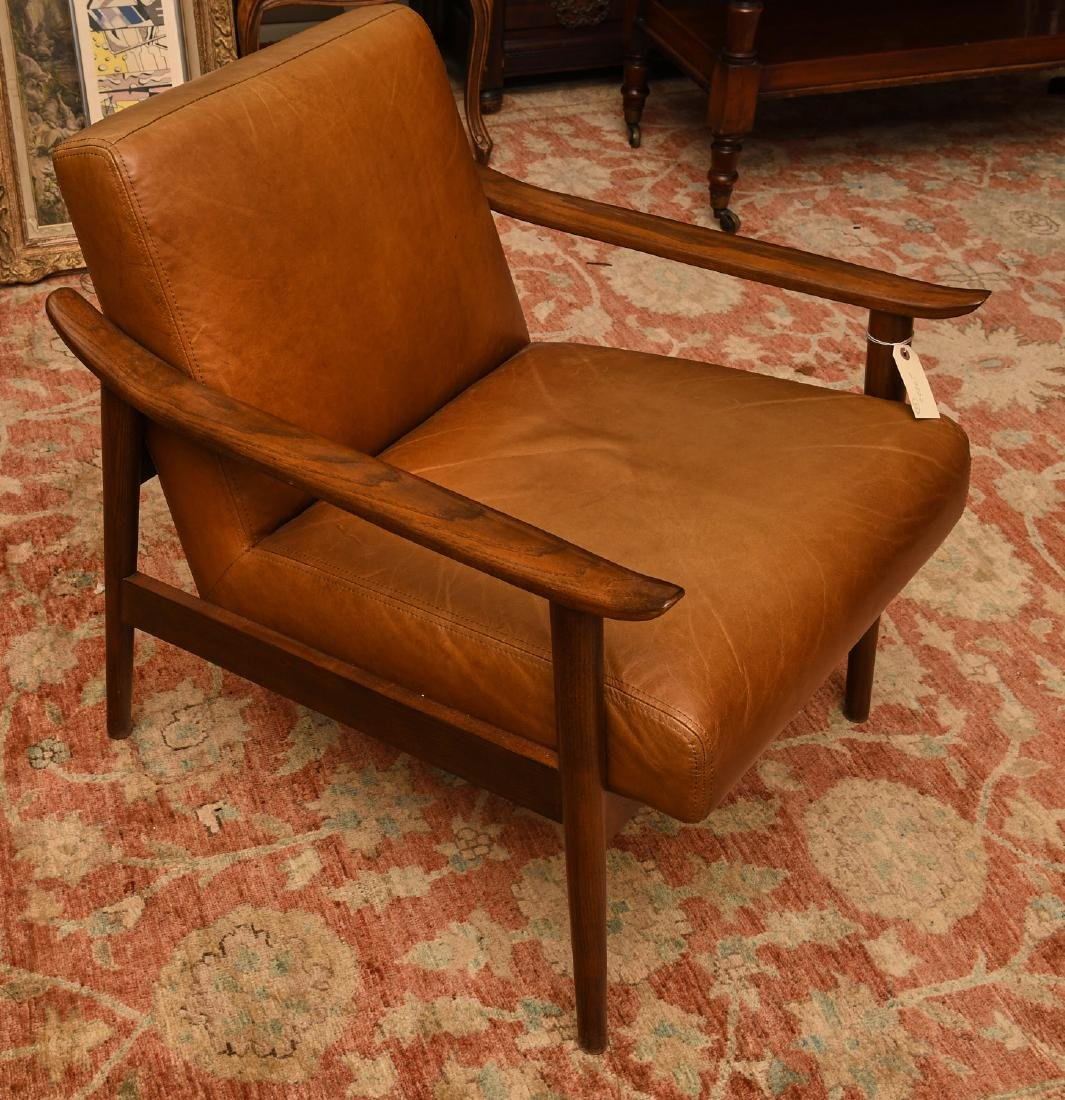West Elm leather and wood chair