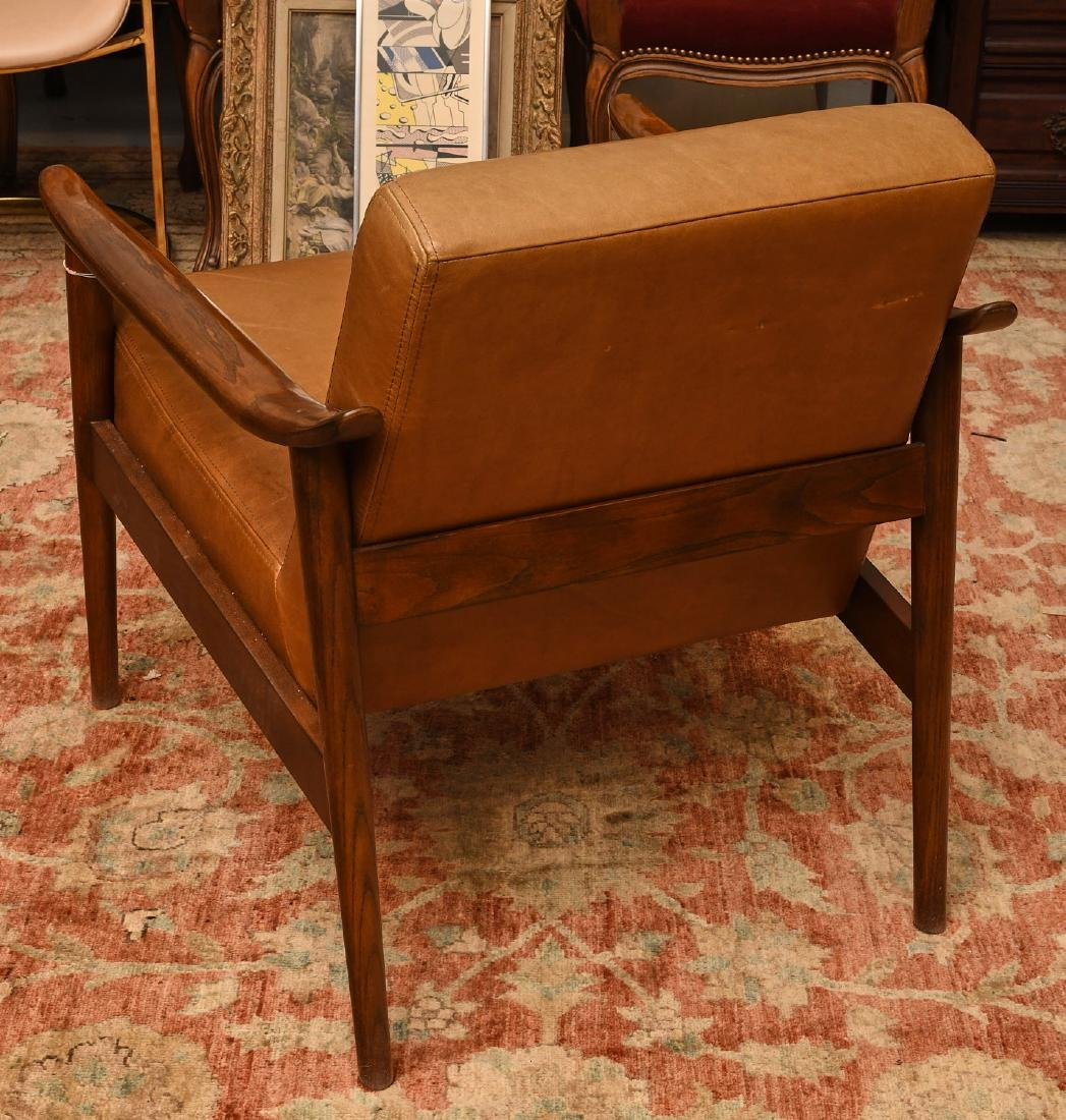 West Elm leather and wood chair - 3