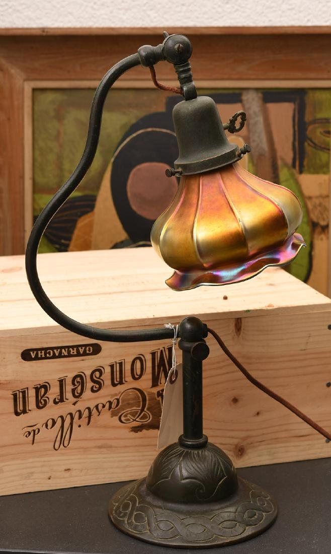 Handel desk lamp with Favrile-type shade
