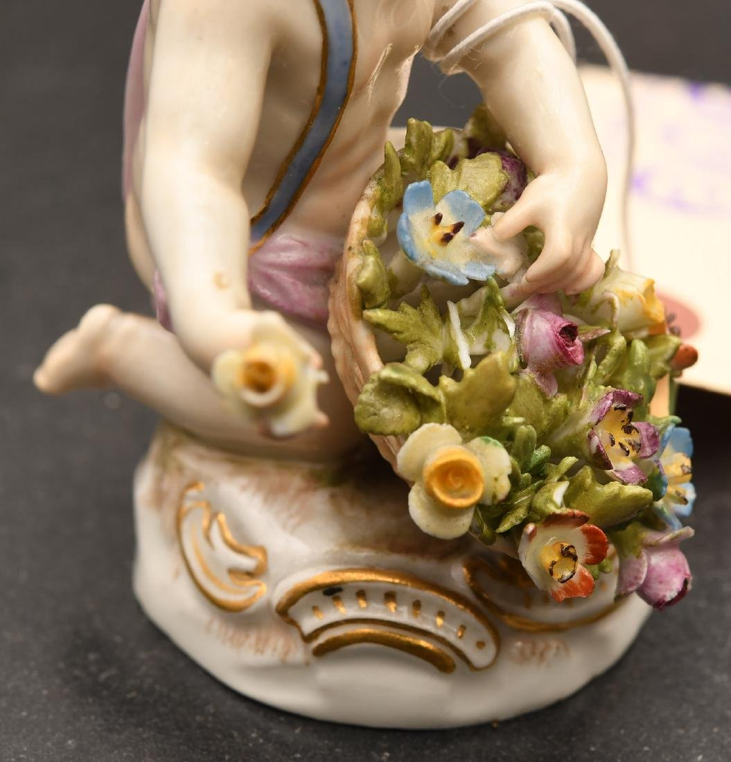 Meissen hand-painted porcelain putto figurine - 2