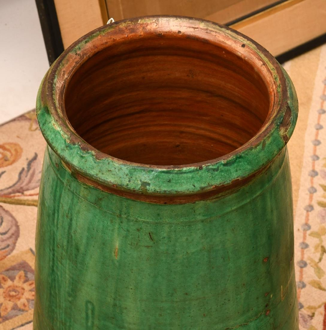 Large green glazed pottery storage jar - 2