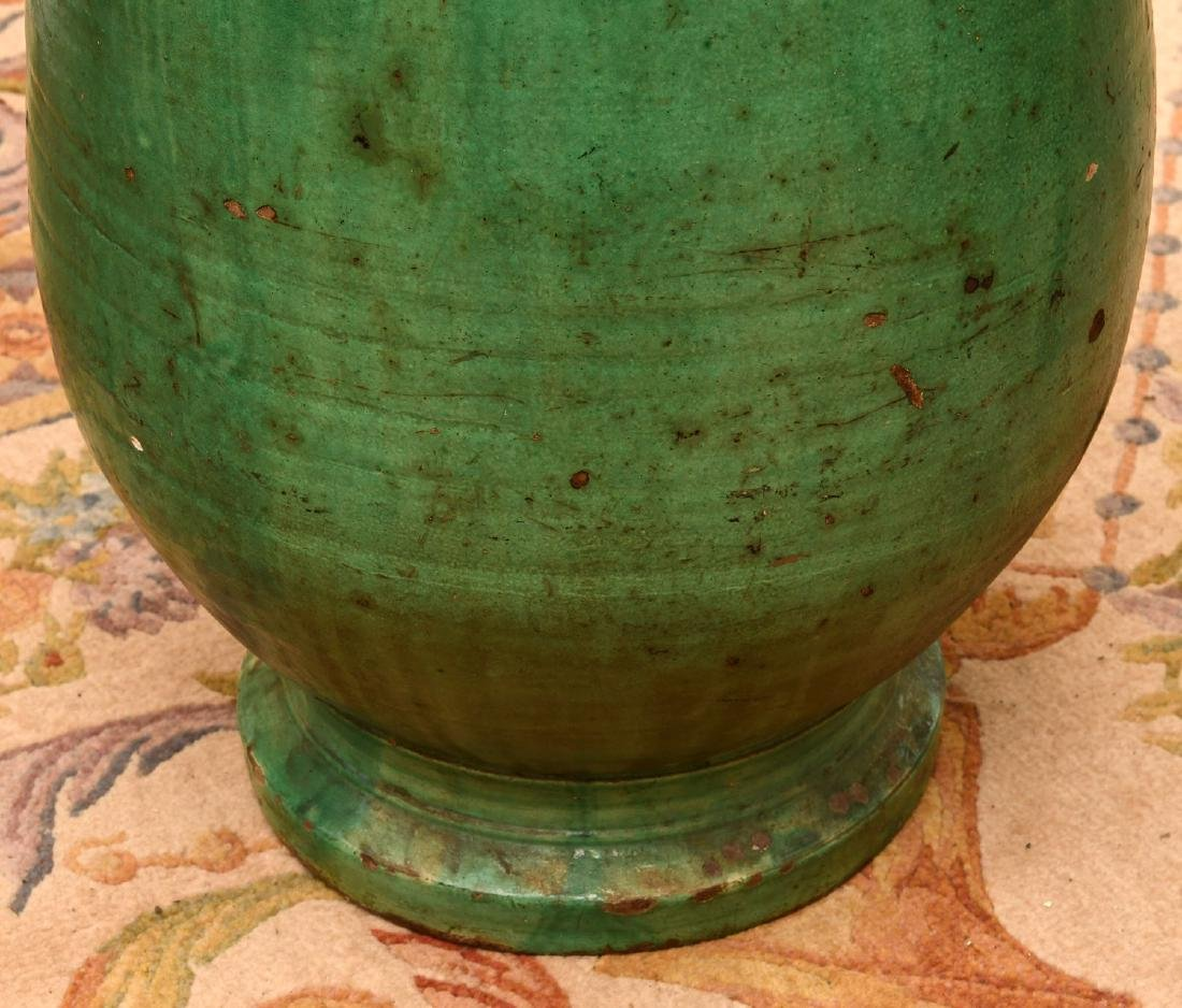 Large green glazed pottery storage jar - 3