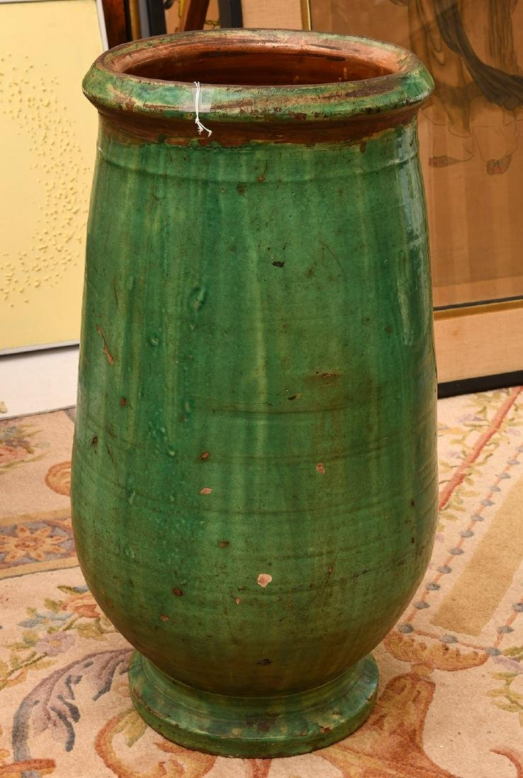 Large green glazed pottery storage jar - 4