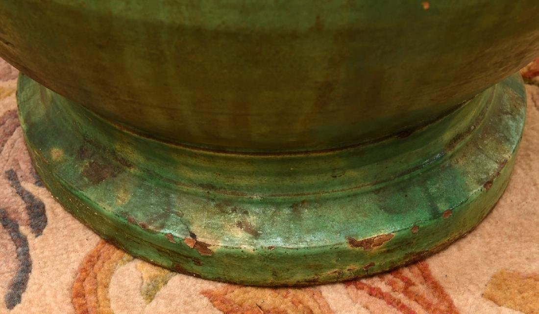 Large green glazed pottery storage jar - 5