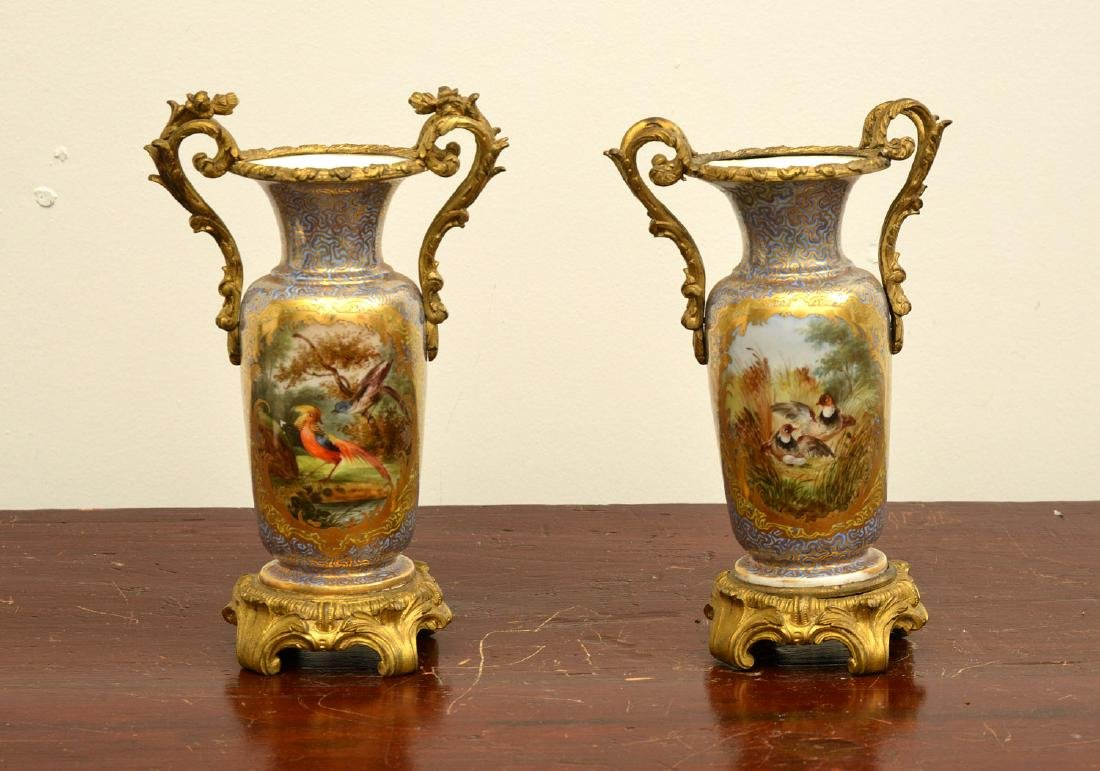 Pair Continental bronze mounted vases